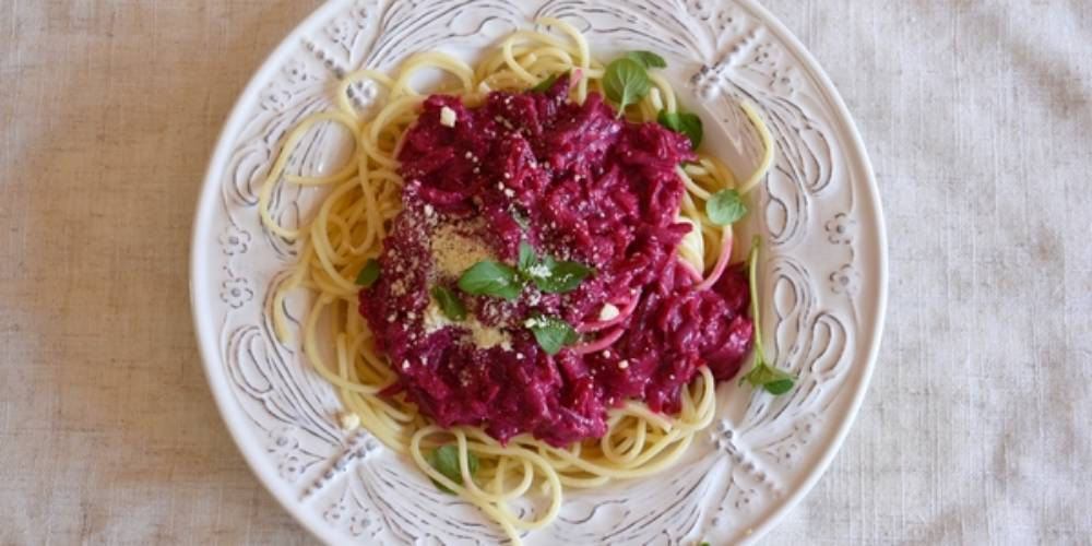 Pasta With Cooked Red Beet