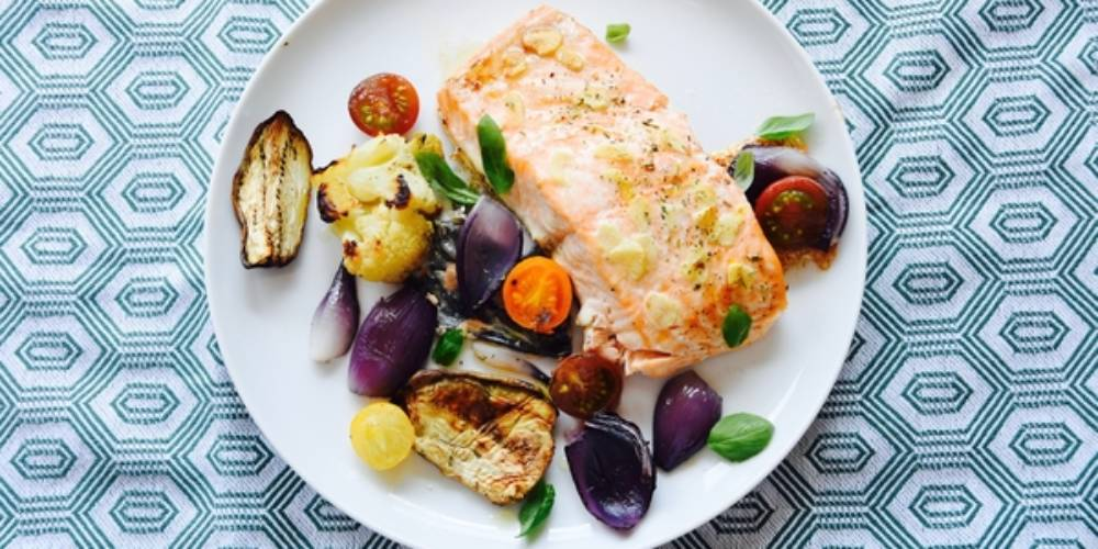 Baked Tuna Fillets With Red Onion, Eggplant, Cauliflower, Garlic And Cherry Tomato